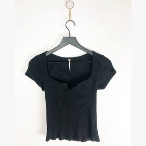 Free people black womens short sleeve small